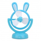 L320 Rabbit Ear Style USB Powered Rotational 3-Blade Fan - Blue + White (3 x AA)