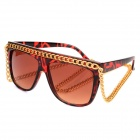 Cool UV400 Protection Plastic Frame Resin Lens Sunglasses w/ Chain - Brown + Red