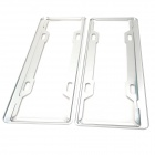 Aluminum License Plate Frame Holder Bracket for Car / Vehicle - Silver (Pair)