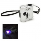 Mini 60X Magnification Microscope w/ LED Flashlight / Currency Detection Light - Silver (3 x LR43)