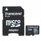 Transcend Class 10 UHS-I Micro SDHC TF Card w/ TF to SD Card Adapter - Black (32GB)