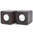 Mini E-02A USB 2.0 Powered 2-Channel Speakers Set - Black + Orange + Silver