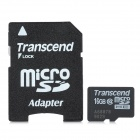 Transcend TF16G-C10 Class 10 Micro SDHC TF Card w/ TF to SD Card Adapter - Black + White (16GB)