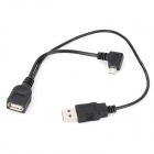 CY U2-165-RI USB 2.0 Female to Male / Micro USB Right 90 Degree OTG Data Cable - Black (15cm + 33cm)