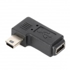 CY U2-064-LE Mini USB Male to Female Angle Adapter for Samsung / Nokia - Black