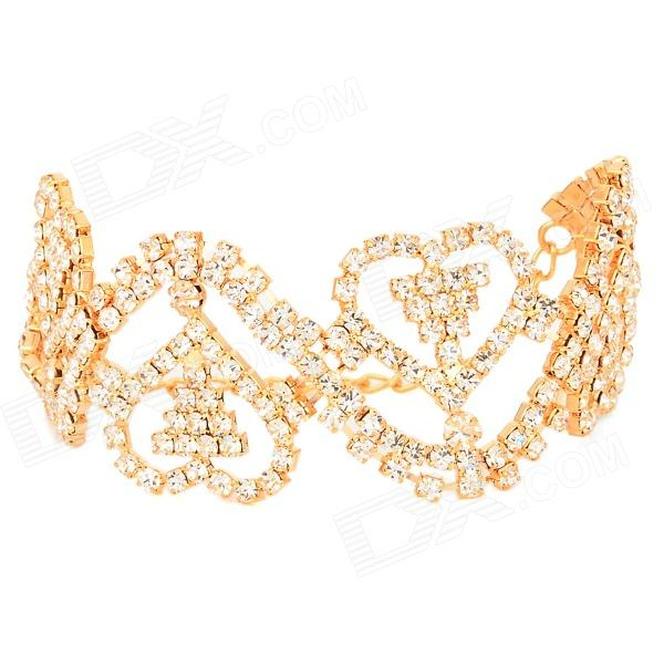 ZX-0339 Heart Wave Pattern Style Plated Alloy + Rhinestones Bracelet for Women - Golden + Silver yoursfs rhinestone charm bangle alloy plated romantic heart design glaring style bracelet for classic