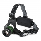 Cree XM-L T6 260lm 3-Mode White Zooming Headlamp - Black + Green (2 x 18650)