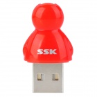 SSK SCRS066 Micro SD / TF Card Reader w/ Strap - Red + Silver