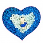 Romantic Heart Shaped 92-Soap Rose Flowers w / Bear Doll - Deep Blue + Light Blue + Yellow