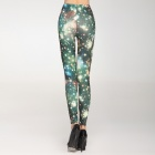 Women's Fashion Twinkling Stars Legging - Green + Apricot