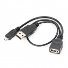 CY U2-165-BK Micro USB Male to USB Female w/ USB Male OTG Cable - Black (15cm)