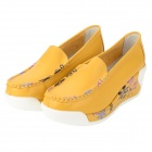 822 Fashion Split Leather Rubber Wedge Heel Leisure Shoes for Women - Yellow (Size 39 / Pair)