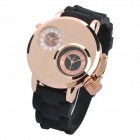 V6 SuperSpeed V0036-G Men's Dual-Quartz Silicone Band Wrist Watch - Black + Champagne Gold