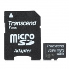 Transcend Class 10 Micro SDHC TF Card w/ TF to SD Card Adapter - Black + White (8GB)