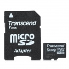 Transcend Class 10 Micro SDHC TF Card w/ TF to SD Card Adapter - Black + White (32GB)