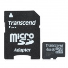 Transcend Class 4 Micro SDHC TF Card w/ TF to SD Card Adapter - Black + White (4GB)