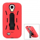 Robot Design Protective PC + Silicone Back Case w/ Stand for Samsung Galaxy S4 / i9500 - Red