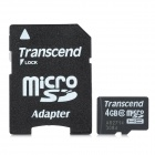 Transcend Class 10 Micro SDHC TF Card w/ TF to SD Card Adapter - Black + White (4GB)