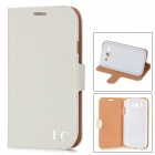 IC Protective PU Leather Cover Plastic Back Case Stand for Samsung Galaxy Grand Duos i9082 - White