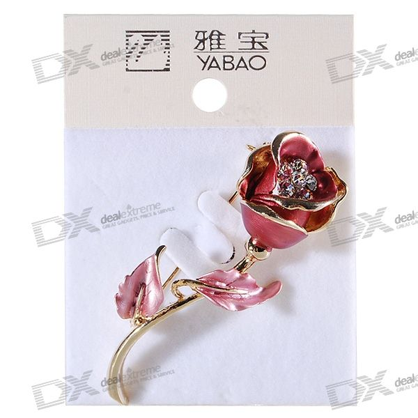 Charming Crystal Rose Alloy Brooch