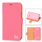IC Protective PU Leather + Plastic Case Stand for Samsung Galaxy Grand Duos i9082 - Deep Pink