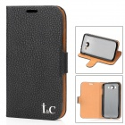 IC Protective PU Leather Cover Plastic Back Case Stand for Samsung Galaxy Grand Duos i9082 - Black