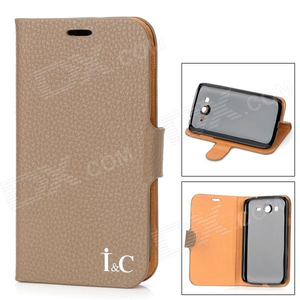 где купить IC Protective PU Leather Cover Plastic Back Case Stand for Samsung Galaxy Grand Duos i9082 - Brown дешево