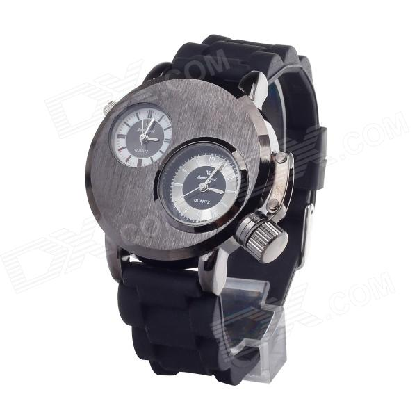 V6 Super Speed V0036-B Men's Dual-Quartz Silicone Band Wrist Watch - Silver Grey + Black v6 super speed v007 fashion pu leather band quartz men s wrist watch black silver 1 x lr626