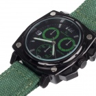 V6 SuperSpeed V0173-G Square Men's Quartz Linen Band Wrist Watch - Army Green + Black