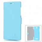 NILLKIN Protective Leather + PC Flip-Open Case für OPPO X909 / Find 5 - Light Blue