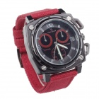 V6 SuperSpeed V0173-R Square Men's Quartz Linen Band Wrist Watch - Red + Black