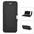 4200mAh Rechargeable Li-ion Polymer Power Case w/ PU Leather Cover and Holder for iPhone 5 - Black