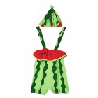 Cute Watermelon Style Infant Babe Cotton Jumpsuits + Hat Outfit - Green + Red (12~24 Months)