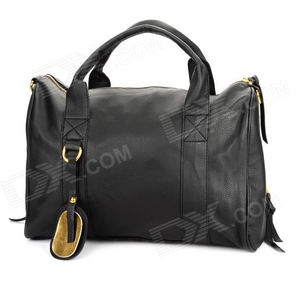 LZ-042 Cool Style PU Leather One Shoulder Bag / Handbag w/ Rivets - Black