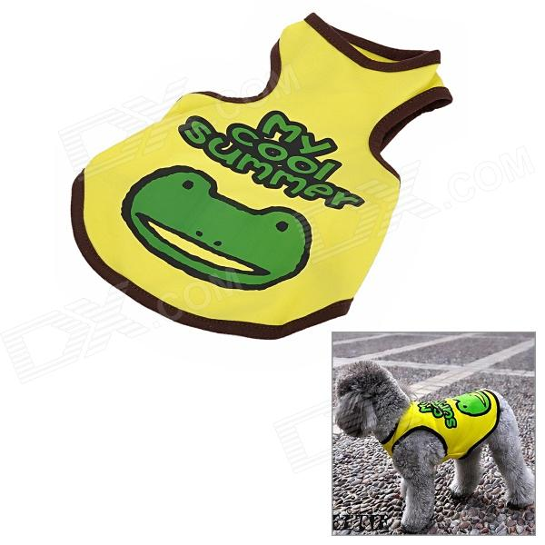 Cute Frog Pattern Toy Poodle Cotton Vest Apparel - Yellow + Green + Brown (Size M)