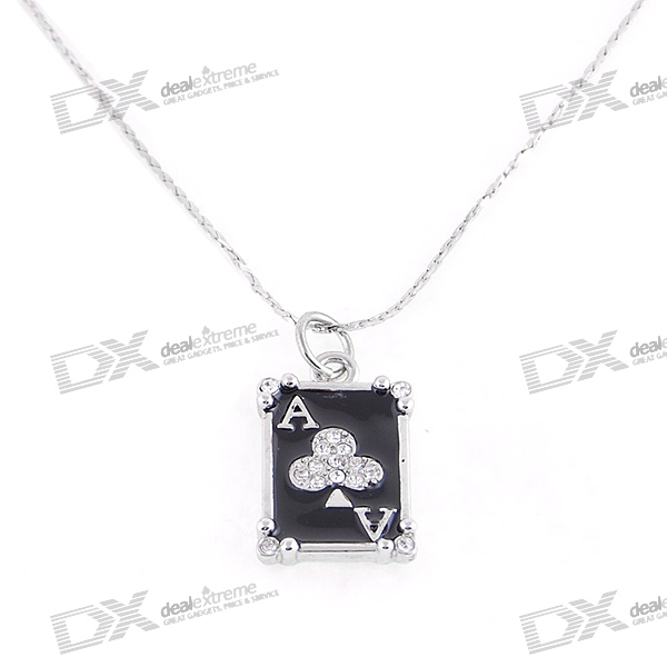 Silver Plated Alloy Crystal Poker Card Necklace (23.3cm)