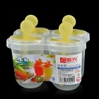 Stilvolle 4-in-1 Stieleis Food Grade Plastic Mold w / Bars - Transparent + Gelb