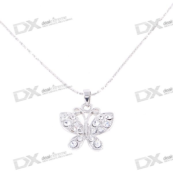 Silver Plated Alloy Crystal Butterfly Necklace (23.8cm)