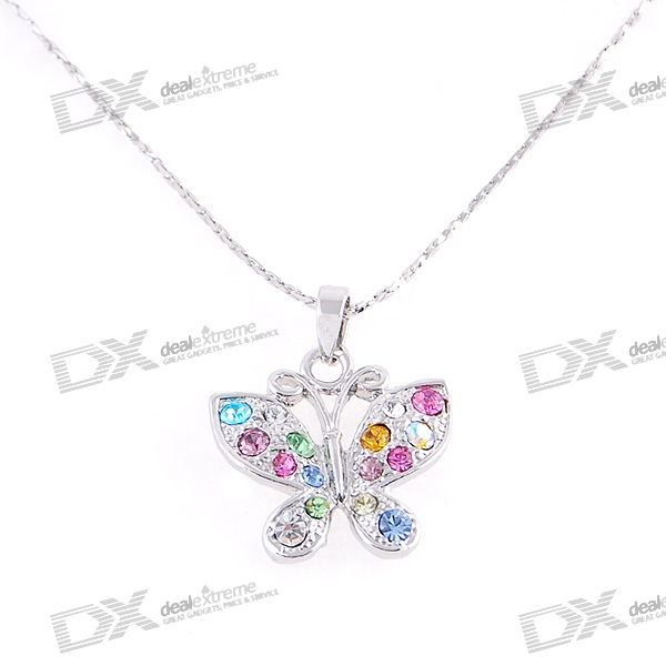 Silver Plated Alloy Colorful Crystal Butterfly Necklace (23.8cm)