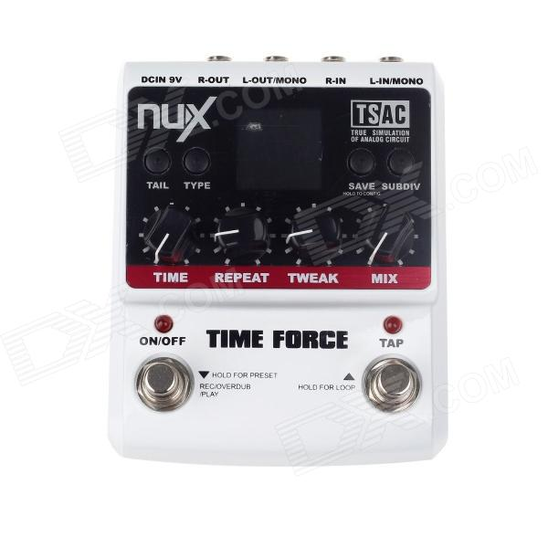 "NUX 1.8"" LCD Time Force Delay Guitar Effect Pedal - White + Black"