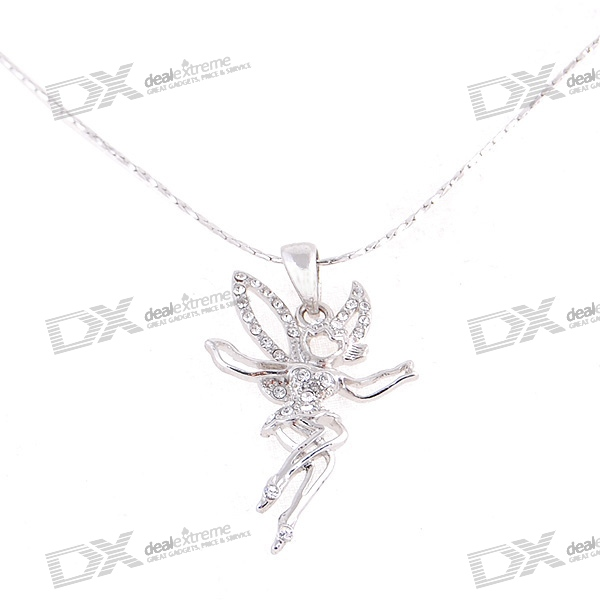 Silver Plated Alloy Crystal Angel Necklace (25.3cm)