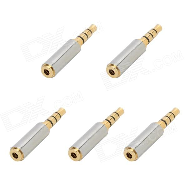 Gold-plated 2.5mm Female to 3.5mm Male Audio Adapters - Golden + Silver (5 PCS) 3 5mm male to female gold plated copper adapter silvery white golden