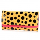 High Capacity Black Polka Dot Wallet Purse for Wallet - Yellow + Black