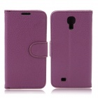 Stylish Flip-Open PU Leather Case w/ Card Slots for Samsung Galaxy S4 / i9500 - Purple + Black