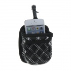 PU Leather Nylon Anti-Skid Phone Bag for Car - Black + White