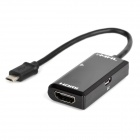 Micro USB to HDMI MHL Adapter w/ Remote Control for Cellphones - Black + White