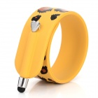 Leopard Pattern Soft Ruler Style Rolling ABS Bracelet Stylus Pen - Yellow + Black + Brown