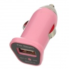 FIN-20 DC 5V 1.5A USB Car Charger for Iphone 4 / 4S / 5 / Samsung i9500 + More - Pink (DC 12~24V)