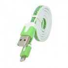 USB to 8-Pin Lightning Data / Charging Flat Cable for iPhone 5 / iPod Touch 5 / iPad 4/Mini - Green