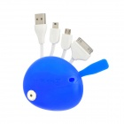 Mickey Mouse Head Style USB Male to 30-Pin / Micro USB / Mini USB Male Charging Data Cable - Blue